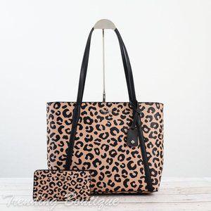 NWT Kate Spade Cara Tote & Slim Bifold Wallet in Leopard Print SET